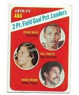 1971-72 Topps #148 1970-71 ABA 2 Pt. Field Goal PCT. Leaders Beaty, Brown - $3.60