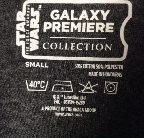 STAR WARS T-SHIRT Galaxy Premiere the Force Awakens Adult size SMALL Limited Ed.