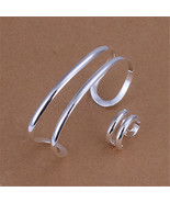 Silver 925 Jewelry Set for Women Fashion Two Line Open Bangle Ring 2 pcs... - $13.57