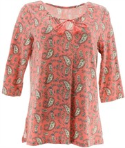Belle Kim Gravel TripleLuxe Knit Indigo Paisley Top Sunrise Pink L NEW A... - $36.61