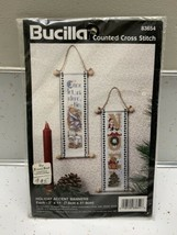 Vtg Bucilla Christmas Counted Cross Stitch Banners Noel & Come Let Us Adore Him - $16.88
