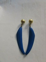 Vintage Blue Enamel Drop Dangle Earrings Pierced 31469 - $17.81
