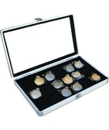 2 Aluminum 18 Pocket Watch Show Cases Display Antique Jewelry Supply Gla... - $93.00