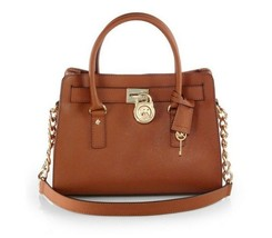 NWT Michael Kors HAMILTON E/W Saffiano Leather Satchel Bag LUGGAGE BROWN... - $168.00
