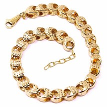 18K ROSE GOLD BRACELET, BIG ROUNDED DIAMOND CUT OVAL DROPS 6 MM, ROUNDED image 1