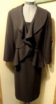 ELLEN TRACY Dress Suit 2pc Set sz 10 Brown Ruffled Jacket Sleeveless Mid... - $64.34