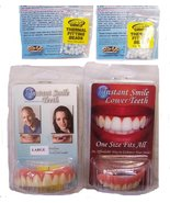 Instant Smile Veneer Set with Large Top Set of White Teeth and Bottom Se... - $28.99