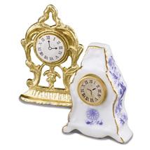DOLLHOUSE Art Nouveau Mantel Clock Set 1.461/5 Reutter Blue Onion Miniature - $16.45