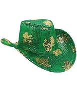ST PATRICKS DAY COWBOY HAT WOMENS GREEN SEQUINS GOLD SHAMROCK ONE SIZE G... - $21.66