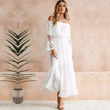 Women's Summer Fashion Off Shoulder Long Solid Lace Trimmed Beach Sundress