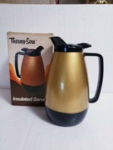 1970s Black & Gold Thermo-Serv 32 Oz Insulated Plastic Coffee Carafe Pit... - $23.76