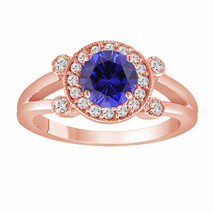 Blue Sapphire Engagement Ring 14K Rose Gold 1.12 Carat With Side Diamonds - $1,900.00