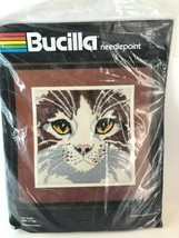 "Bucilla Cat Eyes New/Unopened Needlepoint 11"" Sq Vtg Eva Brent #4584 - $39.59"