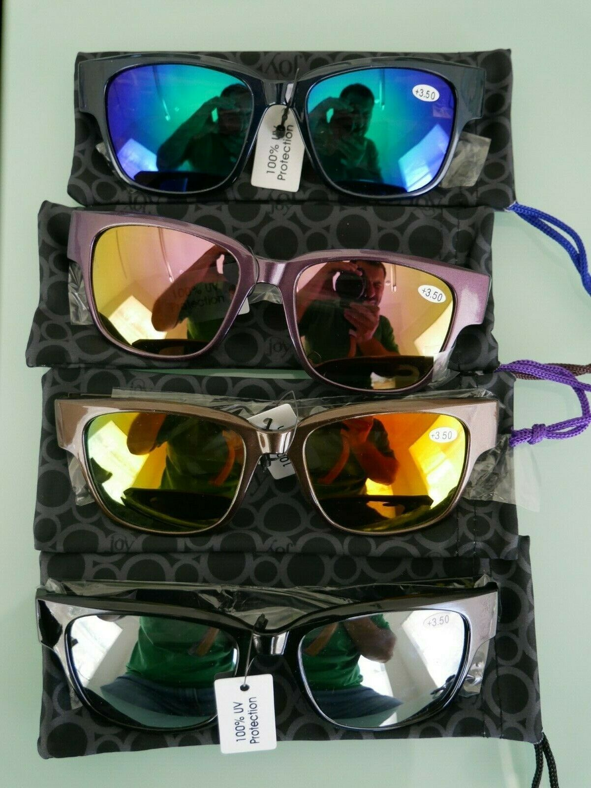 Joy Mangano Bifocal Sunglasses 8-pc Set Mirror Lenses, Multi-Color +3.5 NIB