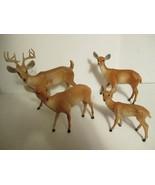 4 Vintage Hard Plastic Christmas Spotted Reindeer Buck  - $21.77