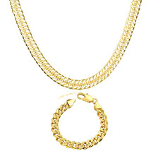 """18K Yellow Gold Plated Necklace Set Cuban Link Chain 18"""" and 8"""" Set ITAL... - $7.99"""
