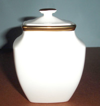 Lenox Eternal White Square Sugar Bowl With Lid Gold Banded $121 New - $46.90