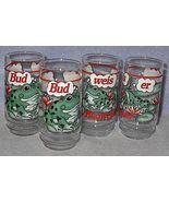 Budweiser Bud Weis Er Frog Beer Bier Glasses 1995 Set of 4 - $19.95