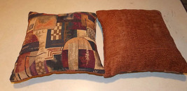 Pair of Beige Burgundy Green Abstract Print Decorative Pillows  16 x 16 - $49.95