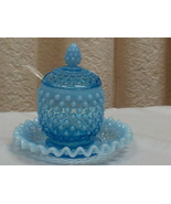 Fenton Blue Hobnail Covered Marmalade Jar and Plate - $50.00