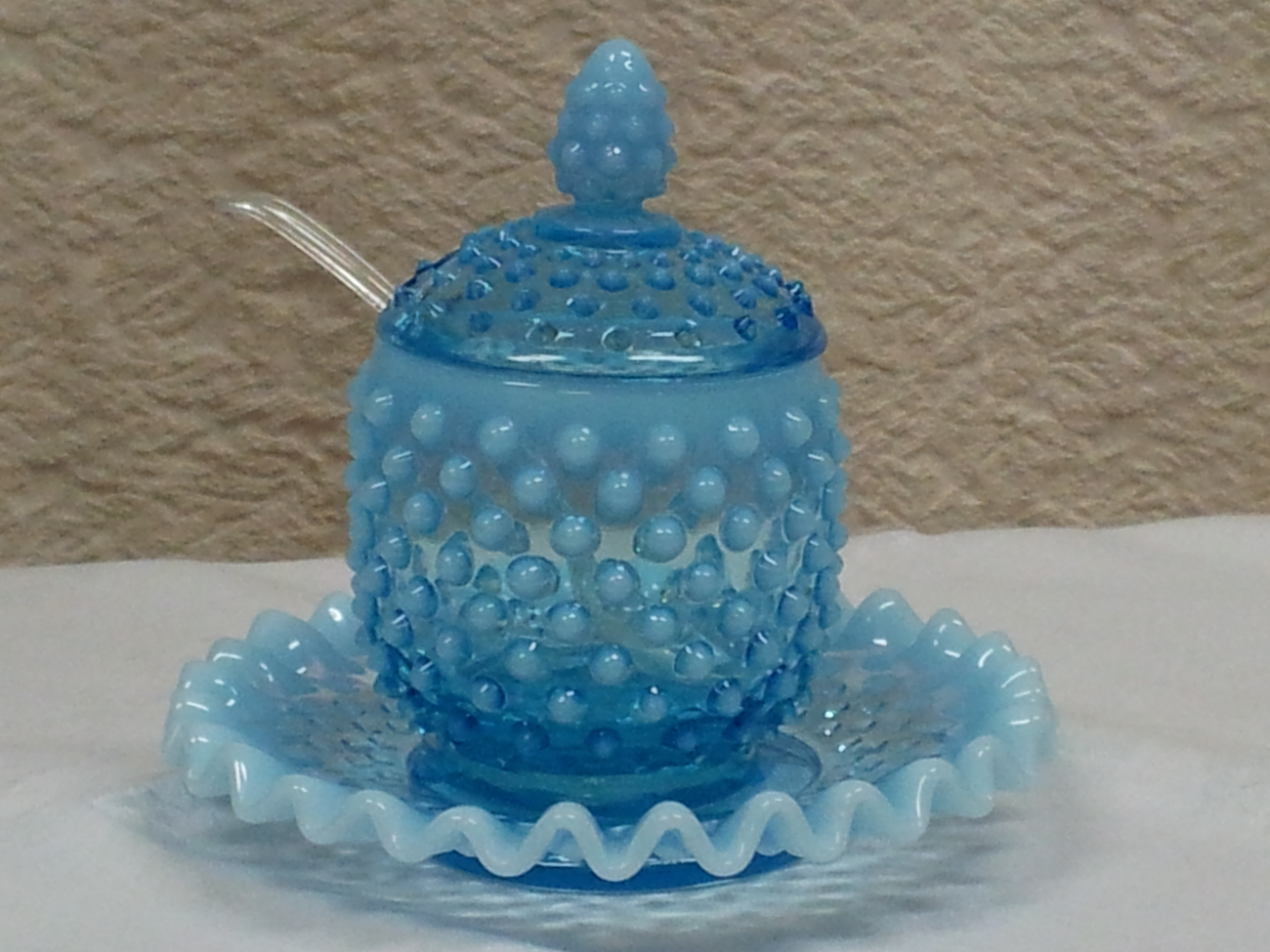 Fenton Blue Hobnail Covered Marmalade Jar and Plate