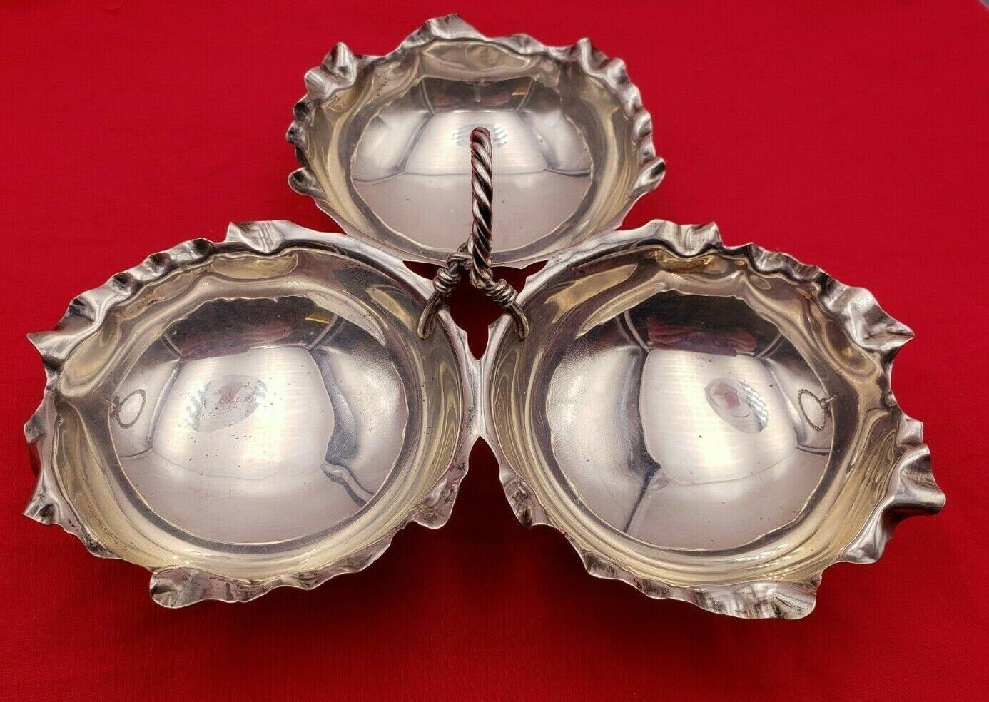 Unique Vintage Sterling Silver 3 Part Candy Dish w/ Scalloped Edge #6747