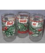Budweiser Bud Weis Er Frog Beer Bier Glasses 1995 Set of 3 Prosit - $18.00