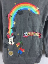 Disney Kids Minnie Gray Rainbow Long Sleeve Shirt Ruffle Shoulder Size XS 4-5 image 2