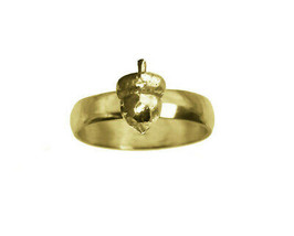 3D Squirrel favorite food Acorn Ring 24k Yellow Gold Plated Silver Jewel... - $33.75