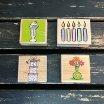 Wooden Stamp Collection Set Four Candle Gift Flower Ice Cream Birthday Lot 4 USA - $10.88