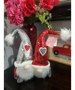 Valentines Day Red Silver Sequins Gnome Tabletop Home Decor - $39.99