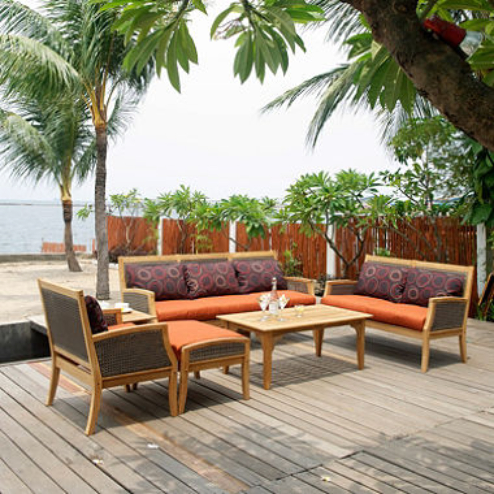 Wicker back sofa set outdoor furniture patio furniture for Back porch furniture sets
