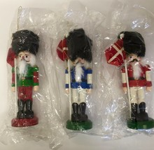 Nutcracker Christmas Ornaments  Wooden Set of 3 Holiday Tree Decorations - $18.03