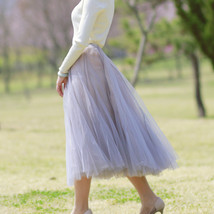 Gray Layered Tulle Skirt Outfit High Waisted Midi Tulle Skirt Party Tulle Skirt image 3