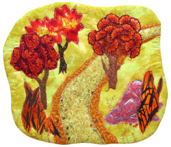 Autumn Path: Quilted Art Wall Hanging - $340.00