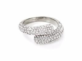 Michael Kors MKJJ3681 Silver-Tone Pave Bypass Ring Size 6 BNWT $125 - $64.75