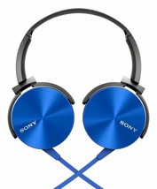 Sony MDR-XB450AP extra Base Stereo Headphones Blue On Orecchio Microfono - $52.99