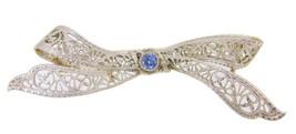 Art Deco Platinum and 14k Genuine Natural Sapphire Brooch Pin (#J3961) - $308.75
