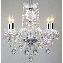 """Murano Venetian Style All Crystal Chandelier w/Chrome Sleeves! H17"""" x W17"""" - $132.29"""