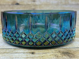 Vintage Indiana Blue Carnival Glass Princess Pattern Candy Dish Diamond ... - $19.99