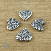 Thai Karen Hill Tribes Silver Heart Beads 15mm (4) | KBA005 - $11.60