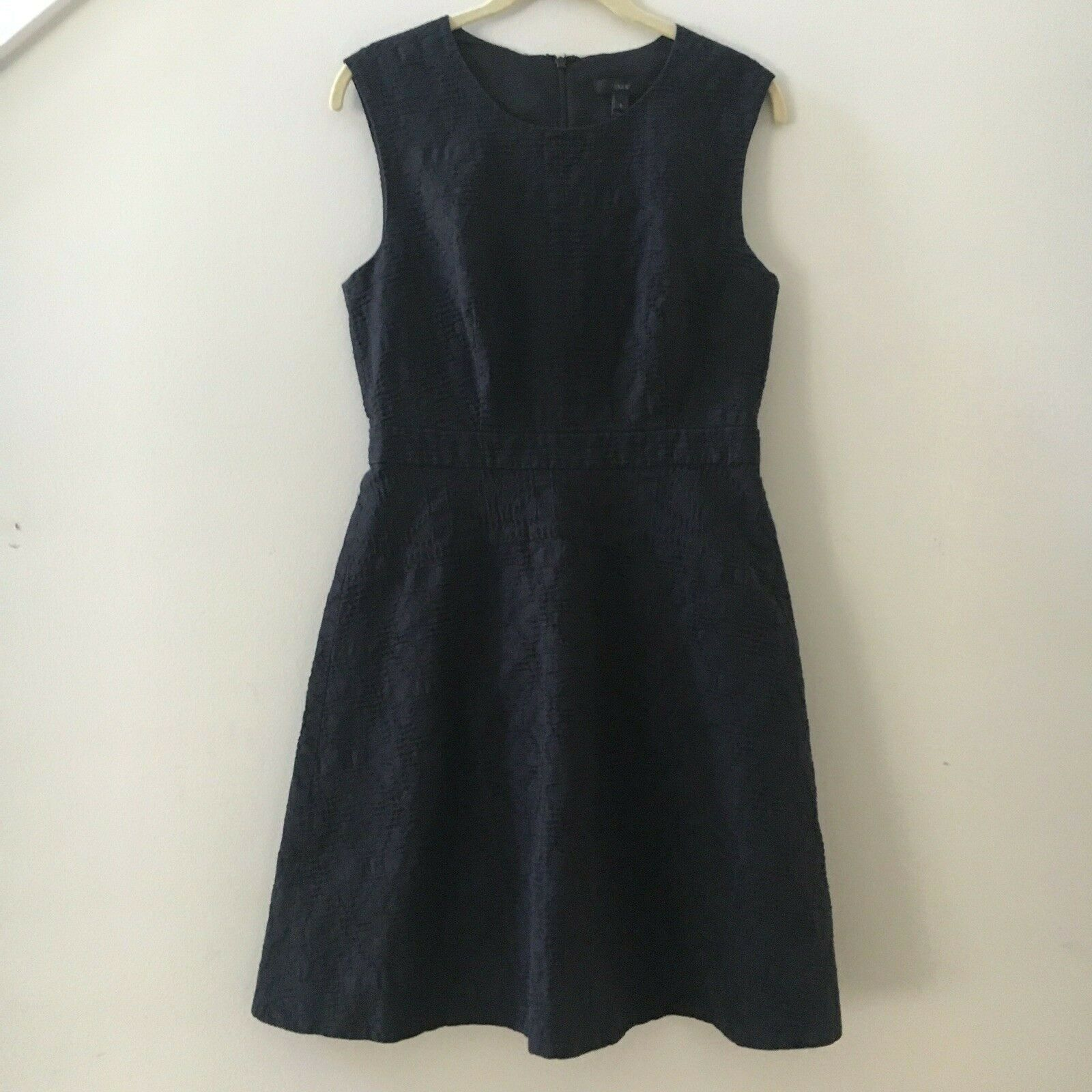J. Crew Black Textured Embroidered Eyelet Jacquard Lined Dress Sz 6 Retail $158