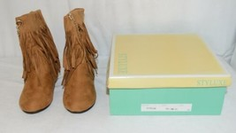 Styluxe Scream Tan Suede Girls 13 Fringe Boots With Chain Plus 3 Charms image 1