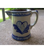 Beaumont Brothers Sponge Heart & Feathers Salt Glaze Milk Pitcher/Cooksv... - $24.99