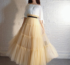 YELLOW Tiered Long Tulle Skirt Outfit High Waist Plus Size Princess Party Outfit image 8