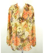 NWT RALPH LAUREN Plus Size 1X New Sheer Silk Floral Blouse  & Cami - $49.99