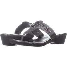 Marc Fisher Amina2 Thong Flip Flop Sandals 735, Pewter, 9 US - $18.22
