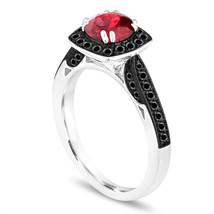 Platinum 1.41 Carat Garnet Engagement Ring Halo Pave - $2,300.00