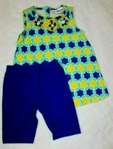 Rare Editions Girls Outfit Sz 5  Shorts Top Blue Yellow Rosette Spring S... - $21.77