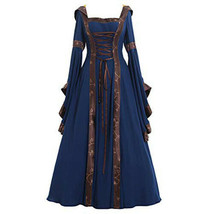 Womens Renaissance Gown Costume Medieval 3XL Dress Blue Brown Hooded - $144.00